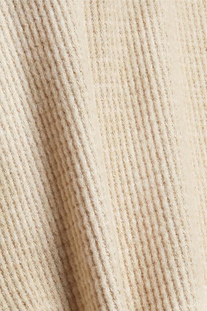 Sweathoodie mit Waffelstruktur, BEIGE, detail image number 4