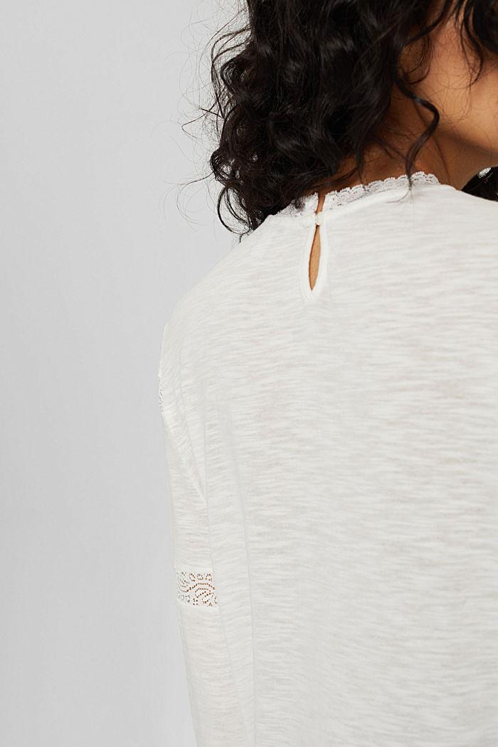 Longsleeve mit Spitze aus Bio-Baumwoll-Mix, OFF WHITE, detail image number 5