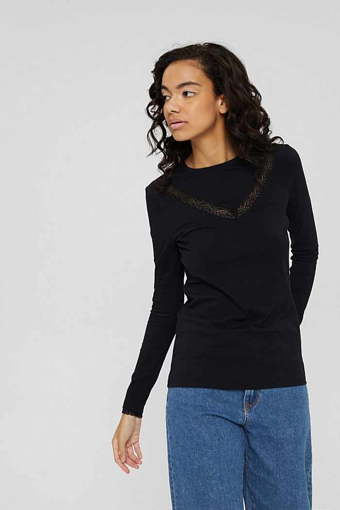 Long sleeve top with lace, organic cotton, BLACK, detail image number 0