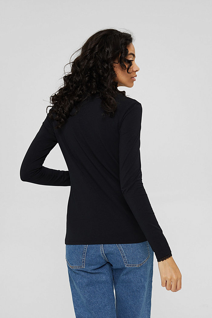 Long sleeve top with lace, organic cotton, BLACK, detail image number 3