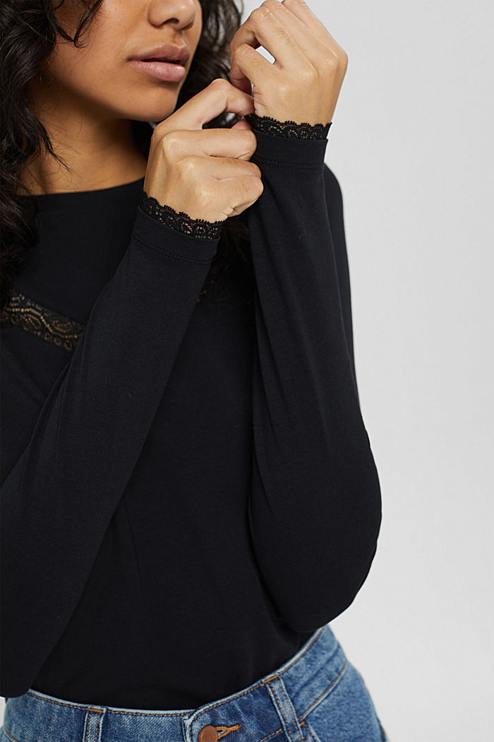 Long sleeve top with lace, organic cotton, BLACK, detail image number 2