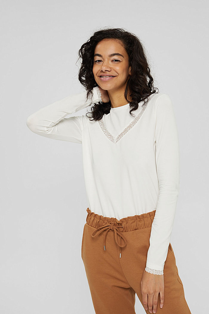 Long sleeve top with lace, organic cotton, OFF WHITE, detail image number 0