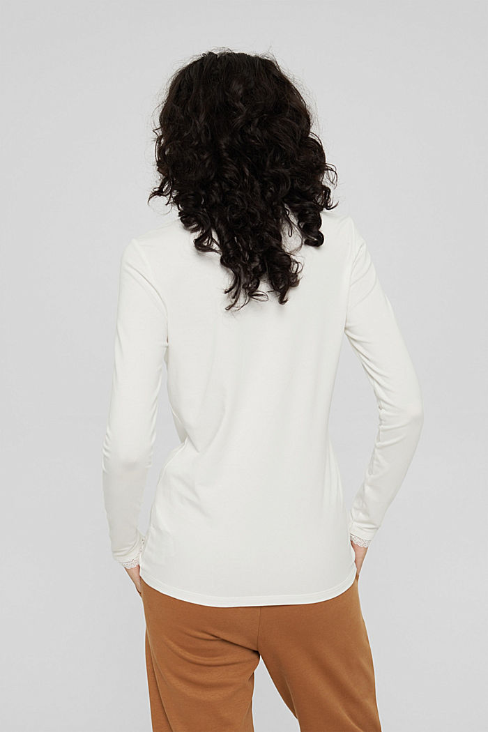 Long sleeve top with lace, organic cotton, OFF WHITE, detail image number 3