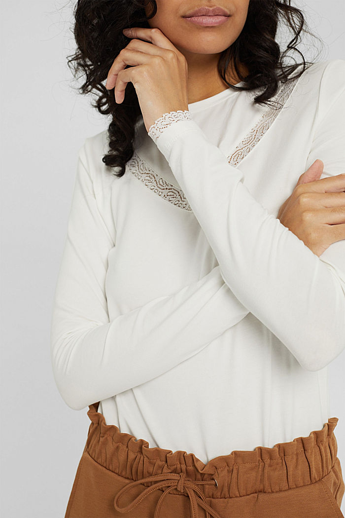Long sleeve top with lace, organic cotton, OFF WHITE, detail image number 2