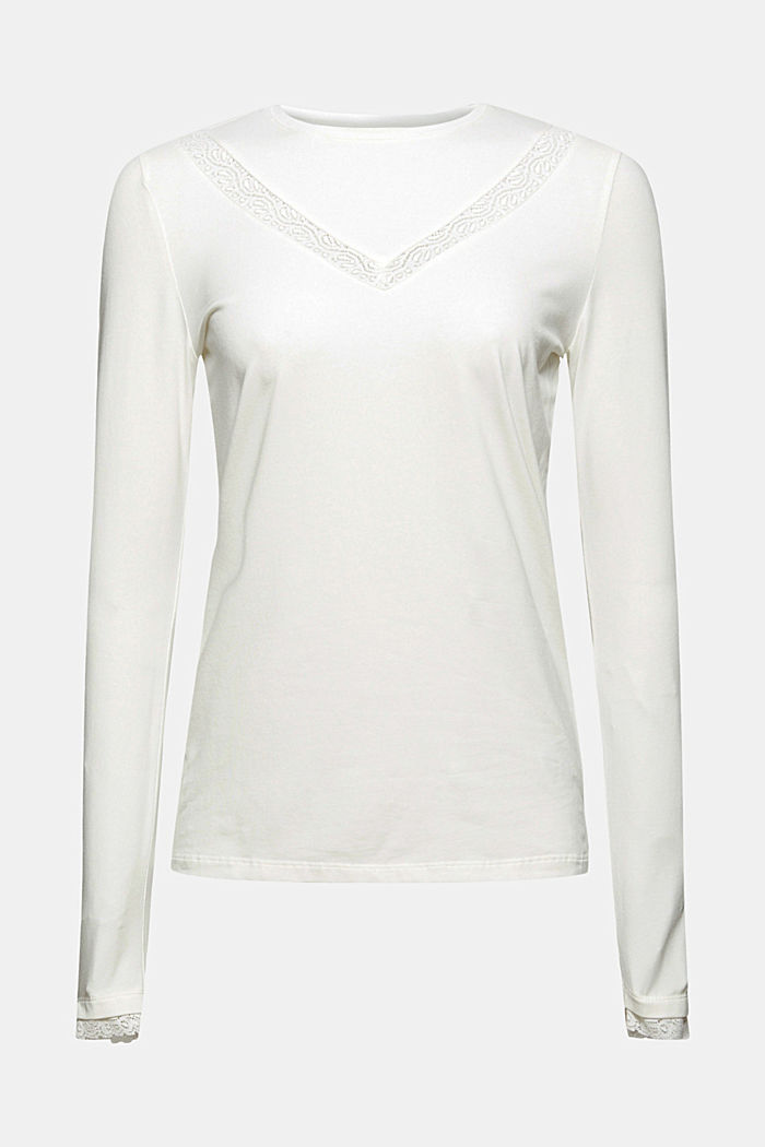 Long sleeve top with lace, organic cotton, OFF WHITE, detail image number 7