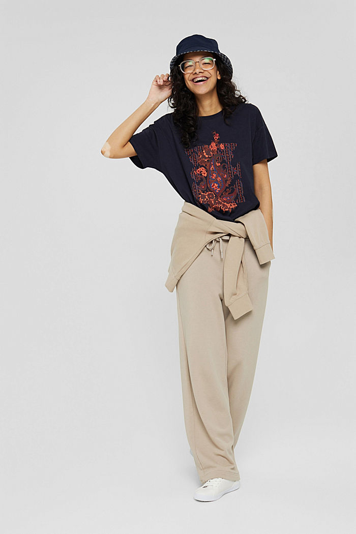T-Shirt mit Paisleyprint, 100% Bio-Baumwolle, NAVY, detail image number 1