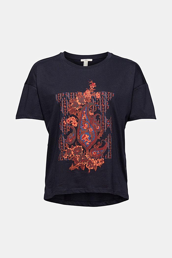 T-Shirt mit Paisleyprint, 100% Bio-Baumwolle, NAVY, detail image number 5