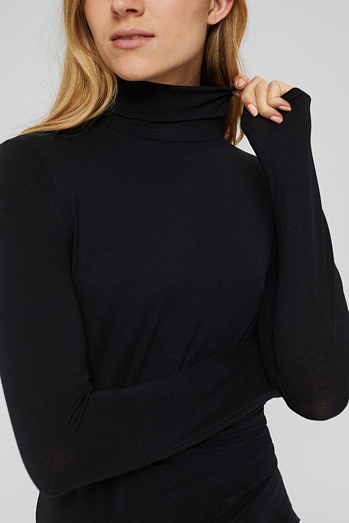 Pull-over à col roulé et à manches longues, coton biologique, BLACK, detail image number 2