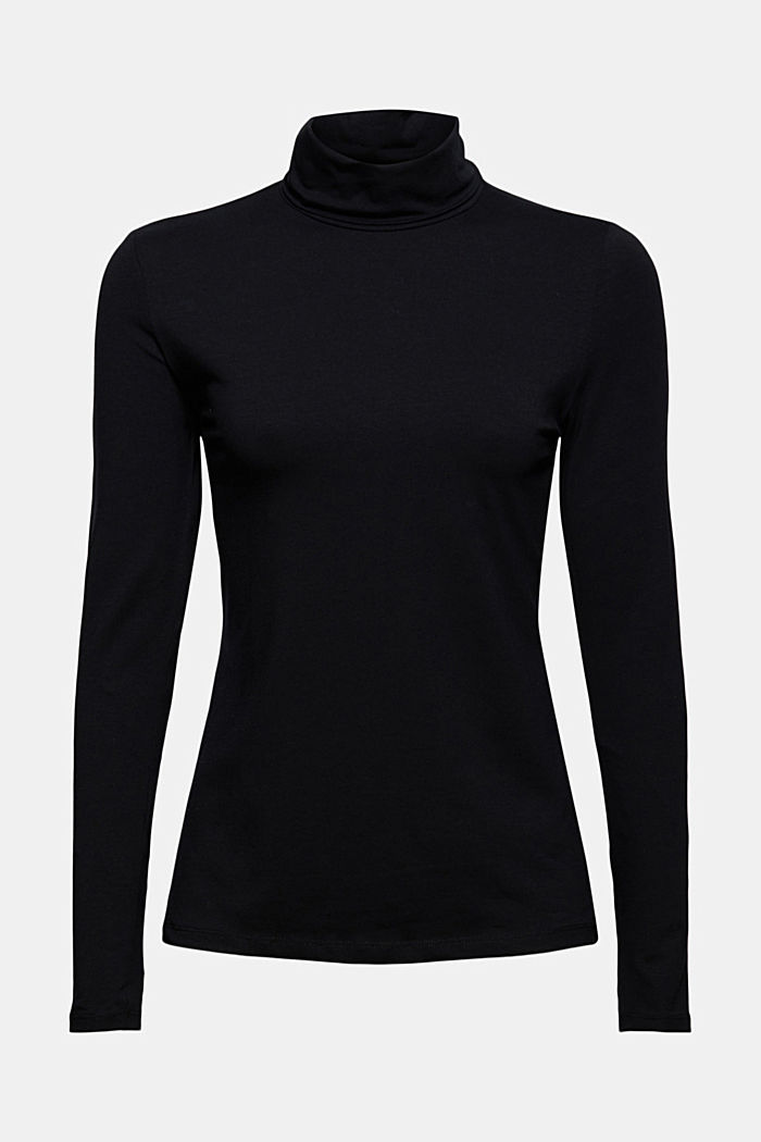 Long sleeve top with polo neck, organic cotton
