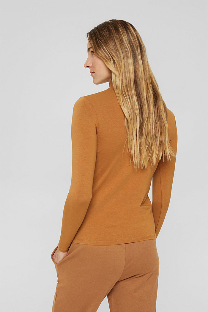 Long sleeve top with polo neck, organic cotton, BARK, detail image number 3
