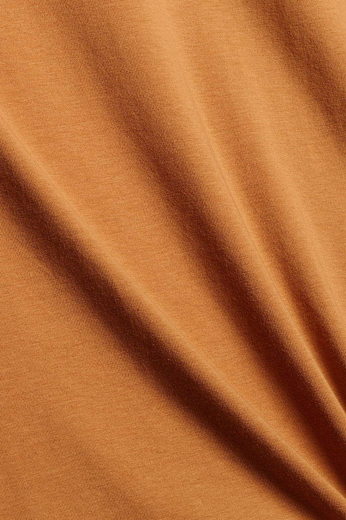 Long sleeve top with polo neck, organic cotton, BARK, detail image number 4