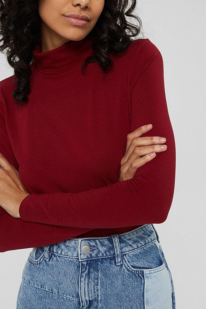 Pull-over à col roulé et à manches longues, coton biologique, DARK RED, detail image number 2