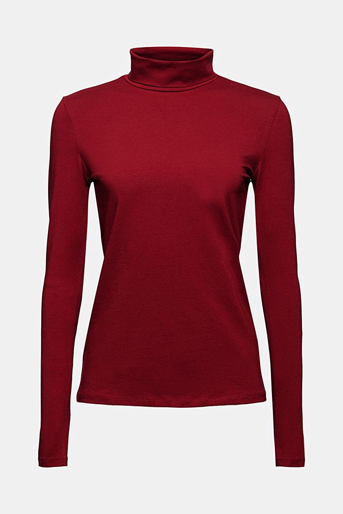 Pull-over à col roulé et à manches longues, coton biologique, DARK RED, detail image number 7