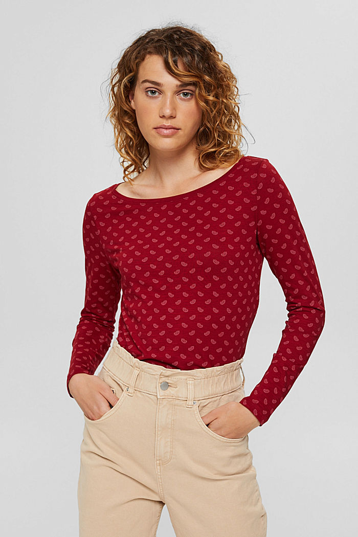 Long sleeve top made of 100% organic cotton, DARK RED, detail image number 0