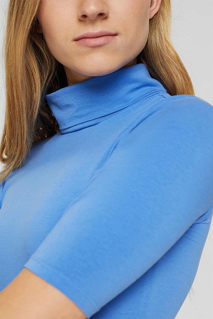 T-Shirt mit Rollkragen, Organic Cotton, BRIGHT BLUE, detail image number 2