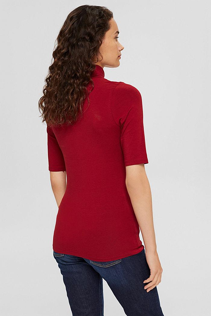 T-Shirt mit Rollkragen, Organic Cotton, DARK RED, detail image number 3
