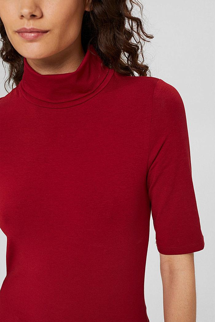 T-Shirt mit Rollkragen, Organic Cotton, DARK RED, detail image number 2