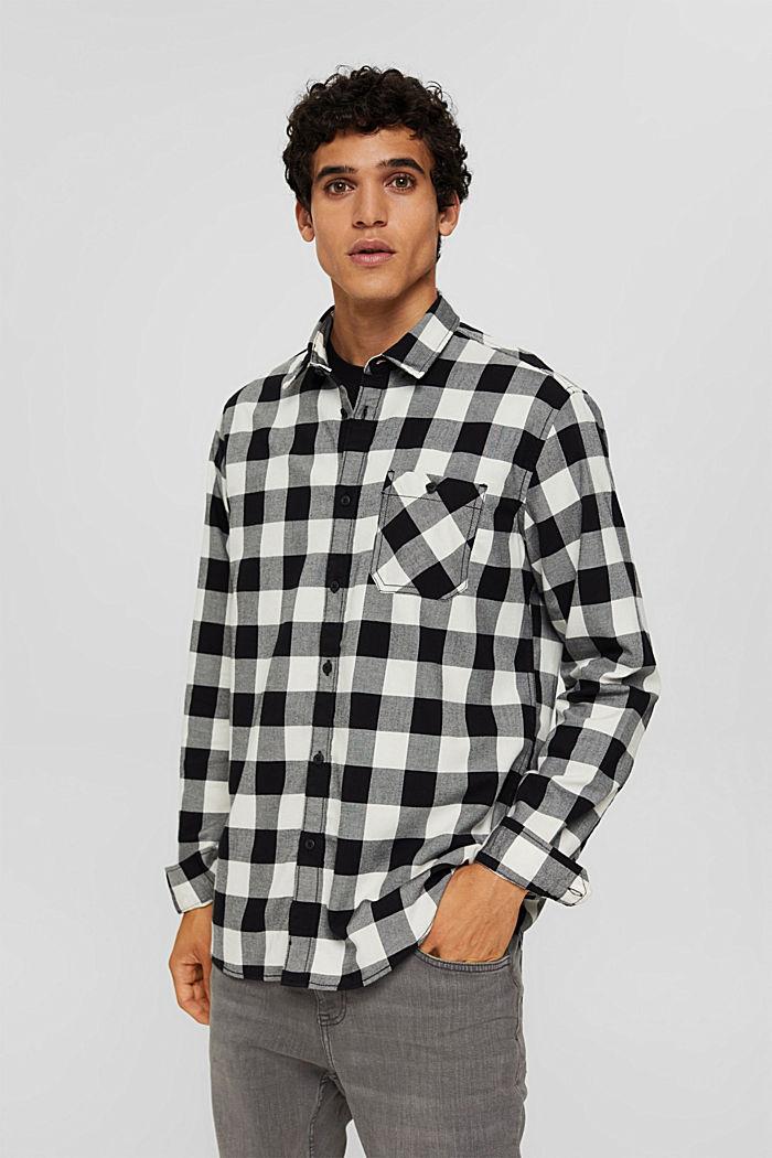 Geruit overhemd van 100% katoen, BLACK, detail image number 0