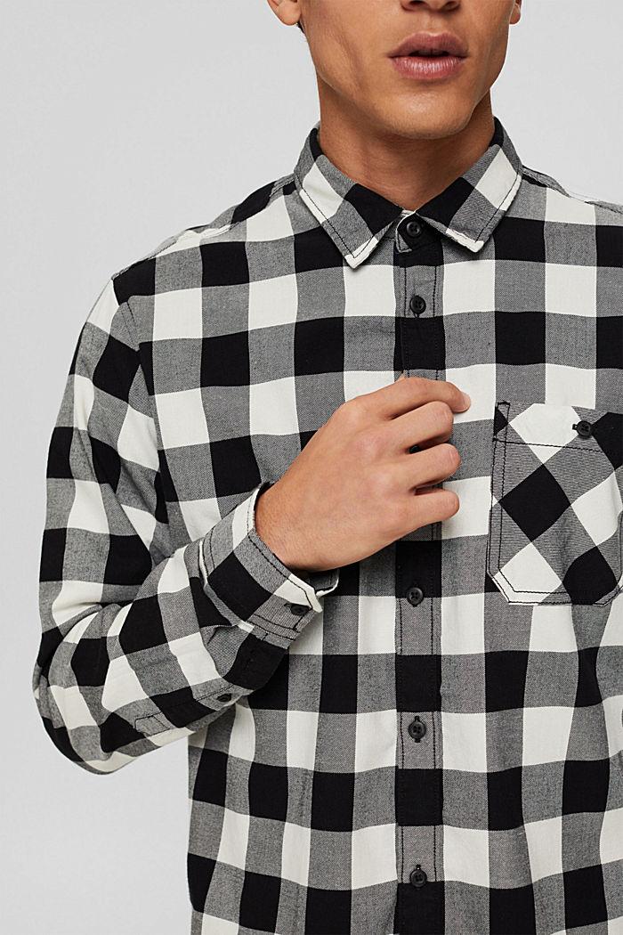 Geruit overhemd van 100% katoen, BLACK, detail image number 2