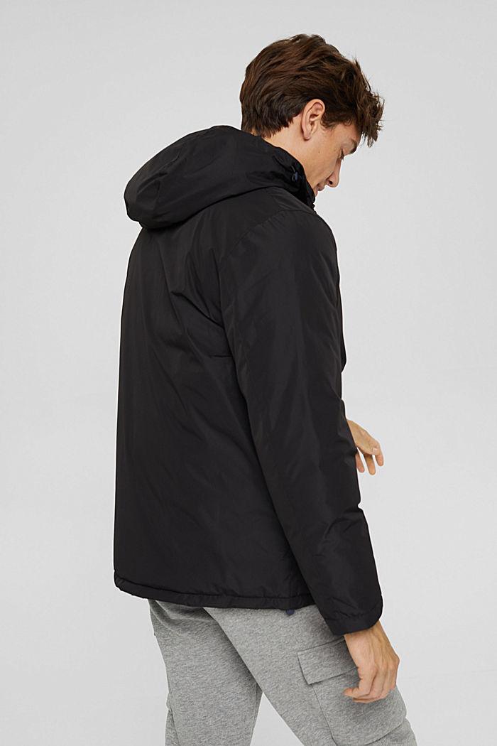 Gerecycled: gewatteerde jas met capuchon, BLACK, detail image number 3