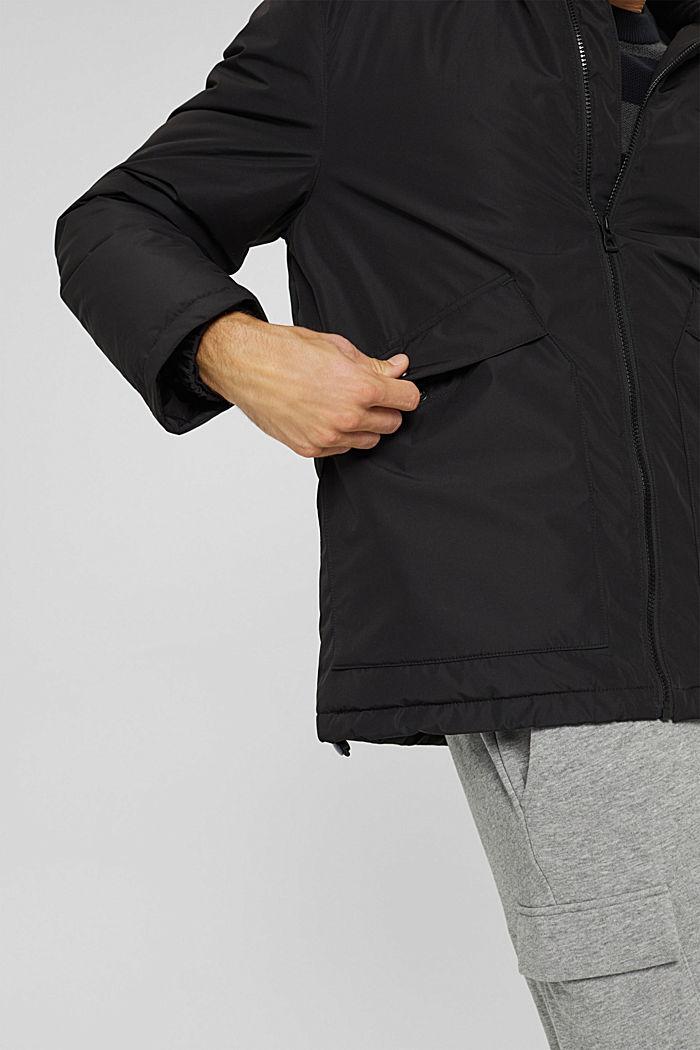 Gerecycled: gewatteerde jas met capuchon, BLACK, detail image number 5