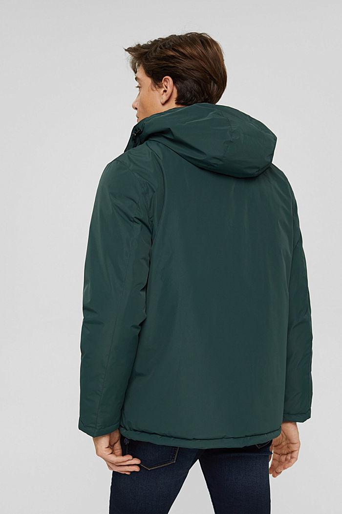 Gerecycled: gewatteerde jas met capuchon, TEAL BLUE, detail image number 3