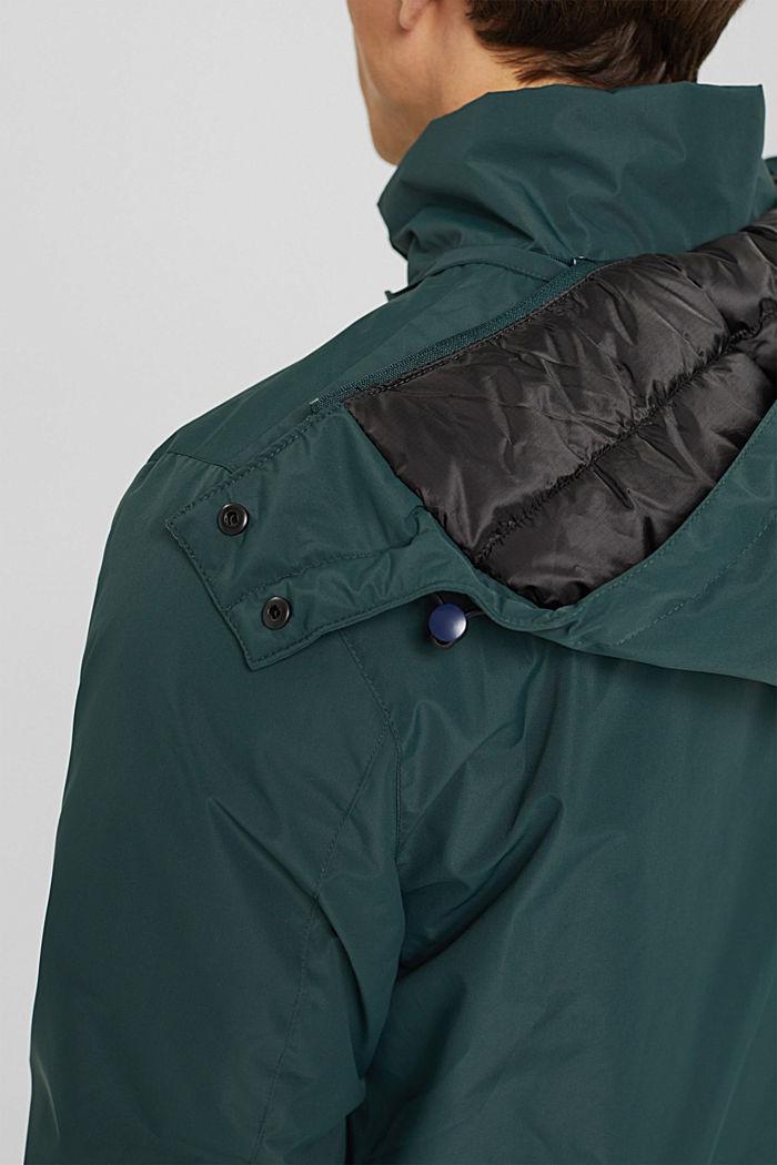 Gerecycled: gewatteerde jas met capuchon, TEAL BLUE, detail image number 2