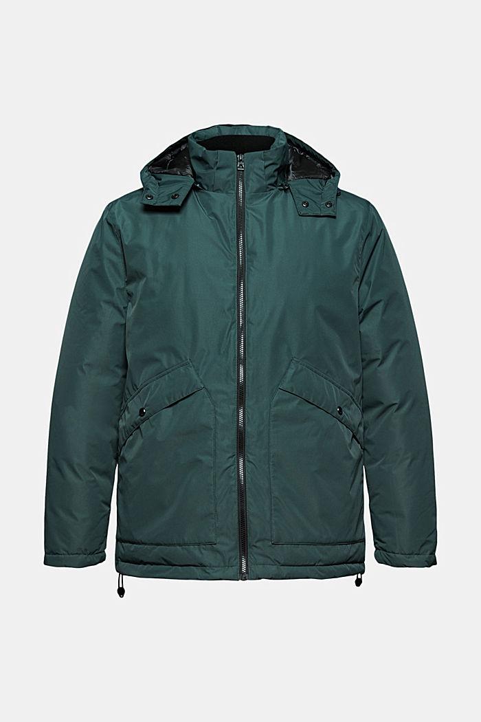 Gerecycled: gewatteerde jas met capuchon