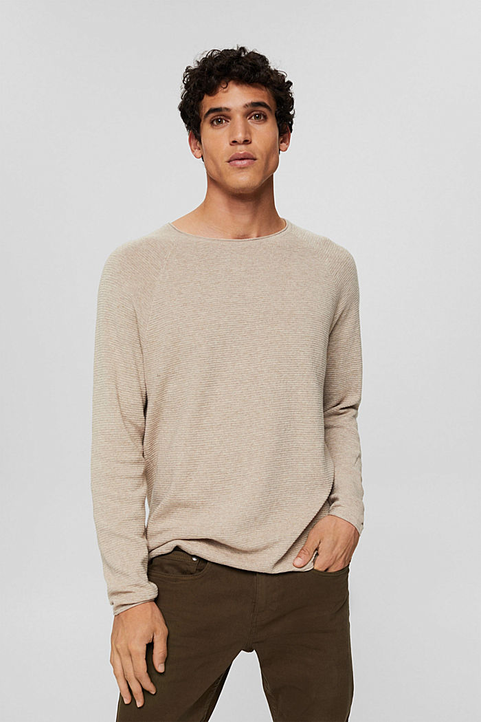 Struktur-Pullover aus 100% Organic Cotton, NEW BEIGE, detail image number 0