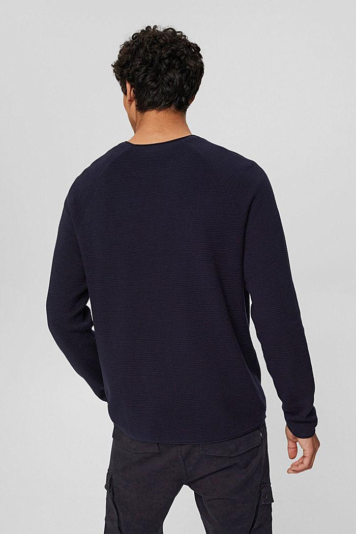 Pull-over texturé, 100% coton biologique, NAVY, detail image number 3
