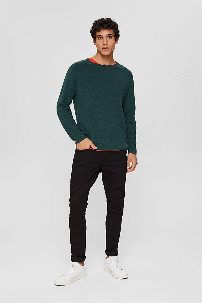 Jersey con textura en 100% algodón ecológico