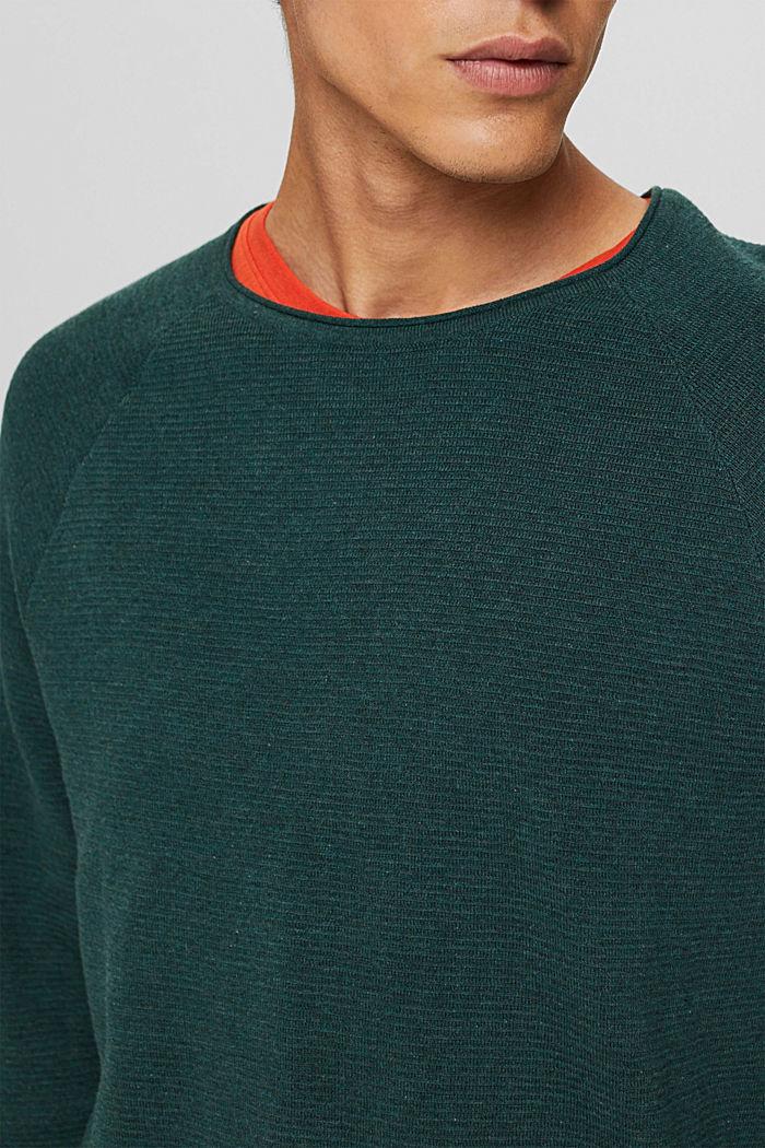 Struktur-Pullover aus 100% Organic Cotton, TEAL BLUE, detail image number 2