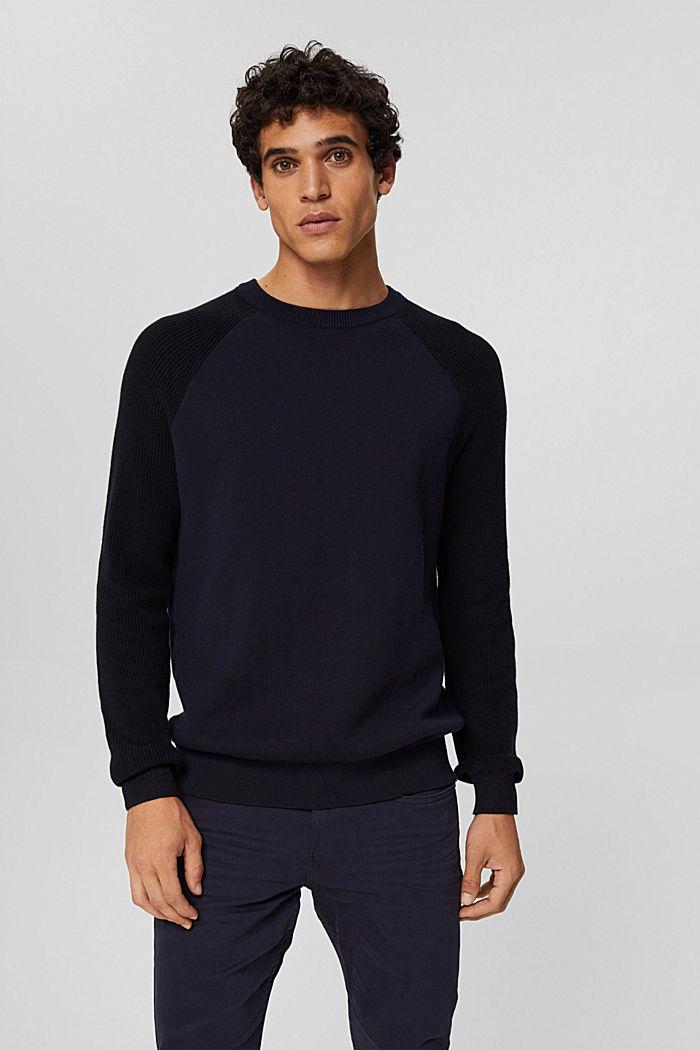 Pullover aus 100% Organic Cotton, NAVY, detail image number 0