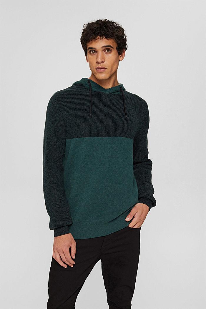 Pullover mit Kapuze aus Bio-Baumwoll-Mix, TEAL BLUE, detail image number 0