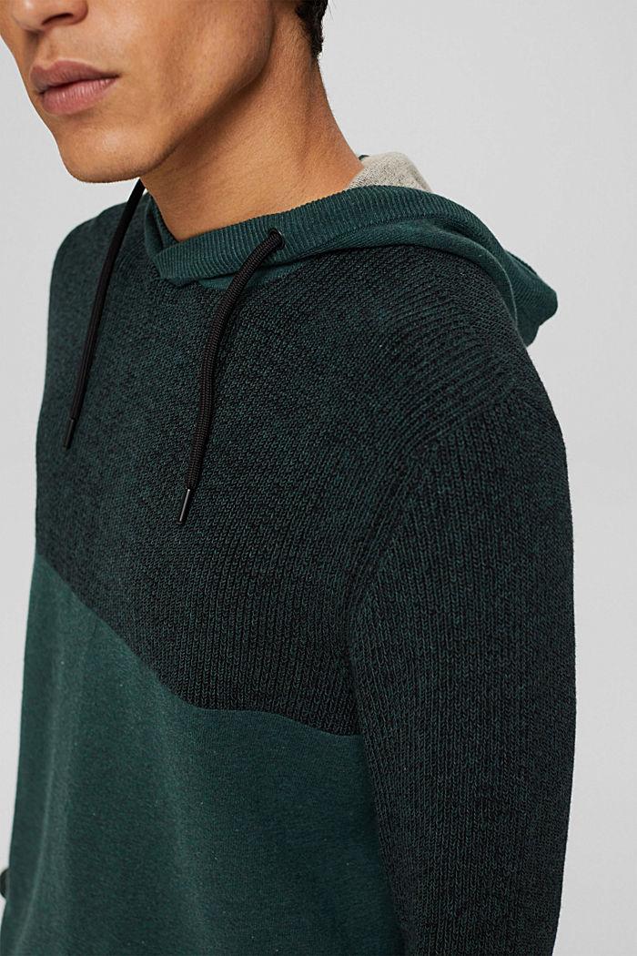 Pullover mit Kapuze aus Bio-Baumwoll-Mix, TEAL BLUE, detail image number 2