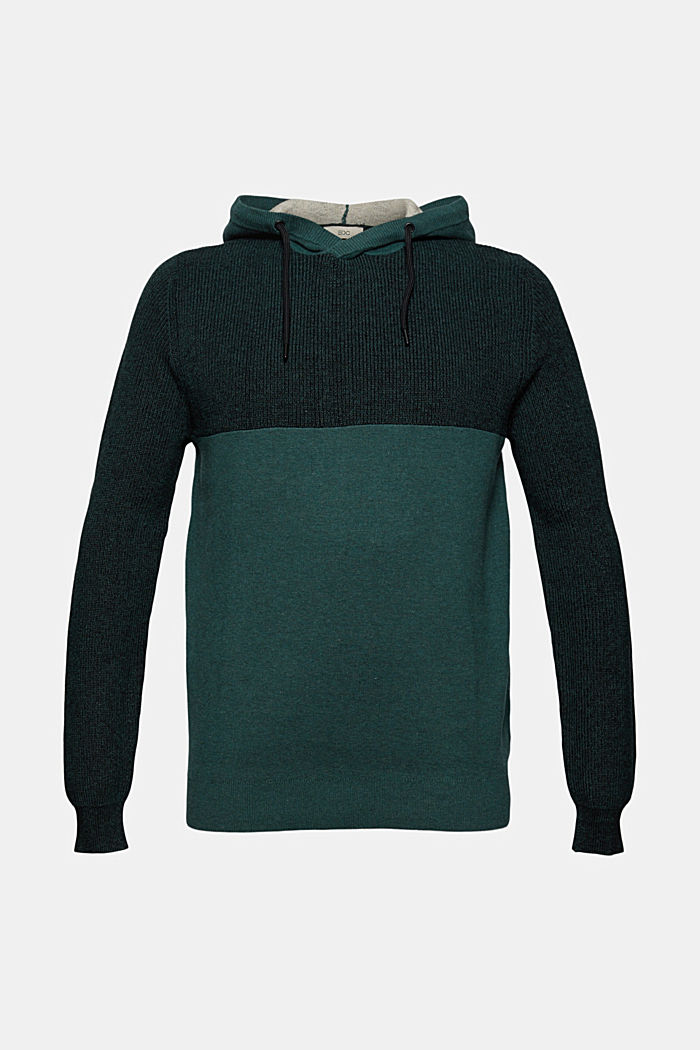Jumper with hood in organic blended cotton