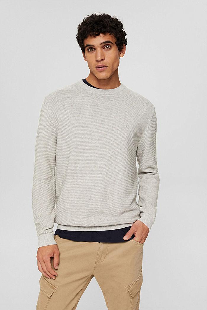 Struktur-Pullover aus 100% Organic Cotton, LIGHT TAUPE, detail image number 0