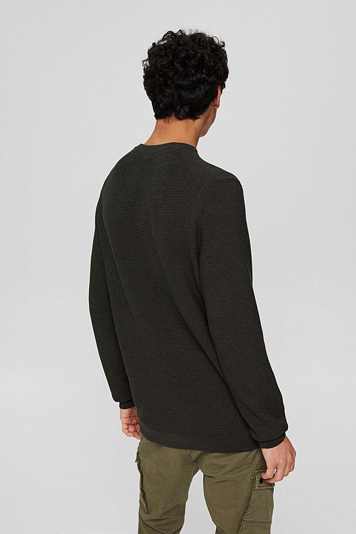 Textured jumper made of 100% organic cotton, DARK KHAKI, detail image number 3