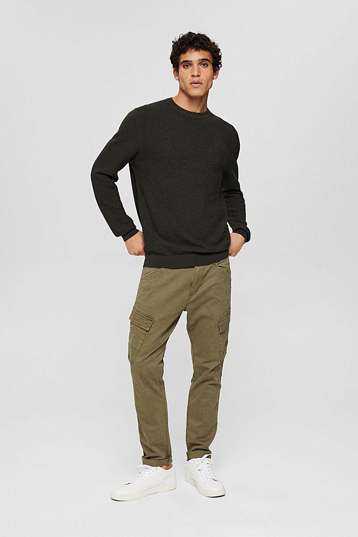 Textured jumper made of 100% organic cotton, DARK KHAKI, detail image number 1