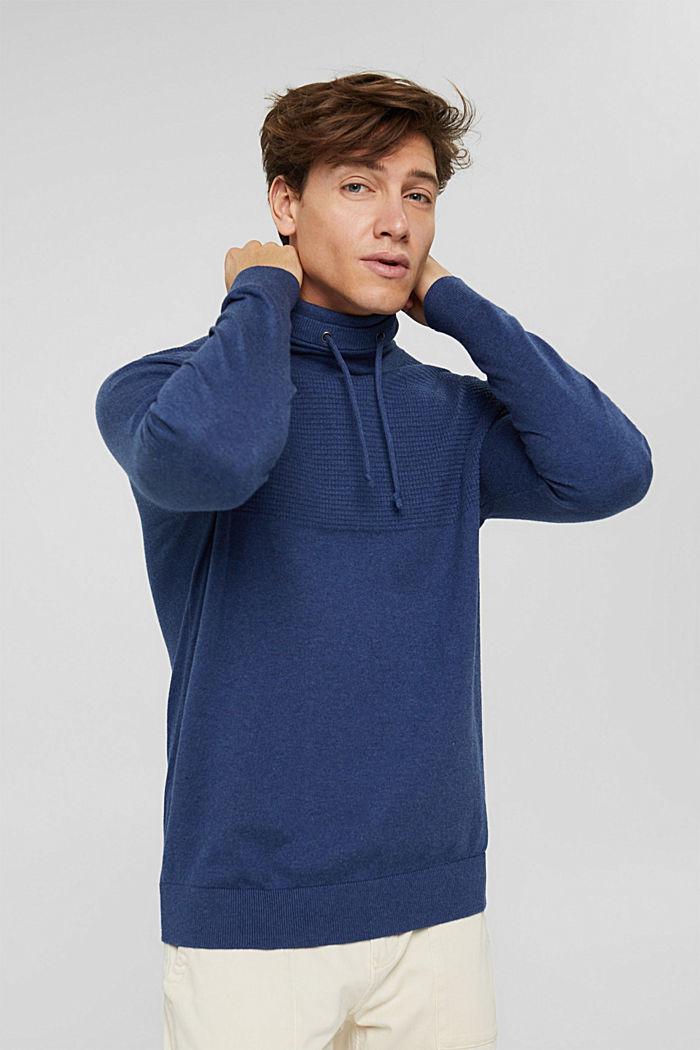 Mit Kaschmir: Pullover mit Tunnelkragen, GREY BLUE, detail image number 0