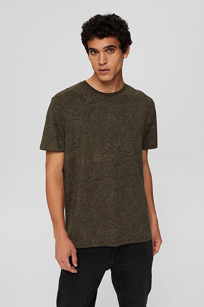 Jersey T-shirt met print, biologisch katoen, DARK KHAKI, detail image number 0