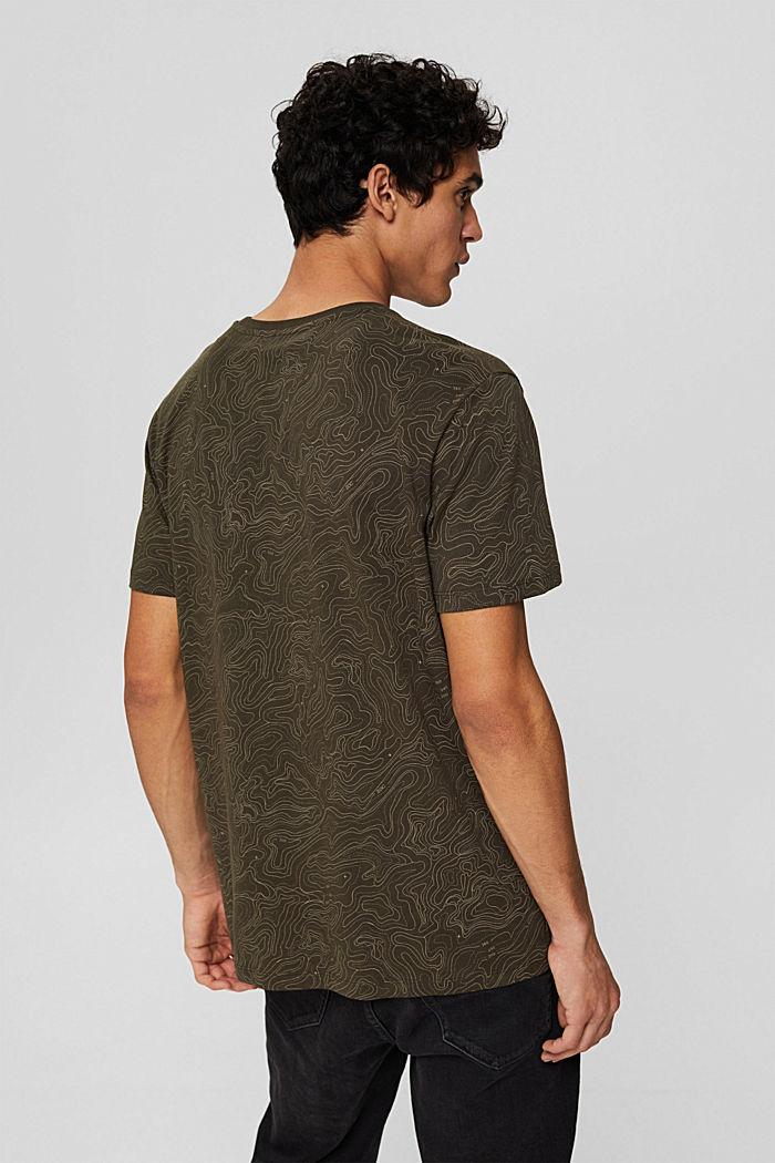 Jersey T-shirt met print, biologisch katoen, DARK KHAKI, detail image number 3
