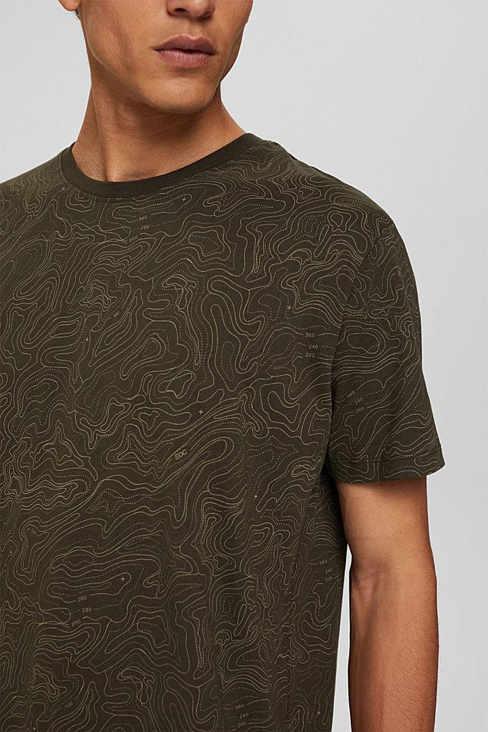 Jersey T-shirt met print, biologisch katoen, DARK KHAKI, detail image number 1