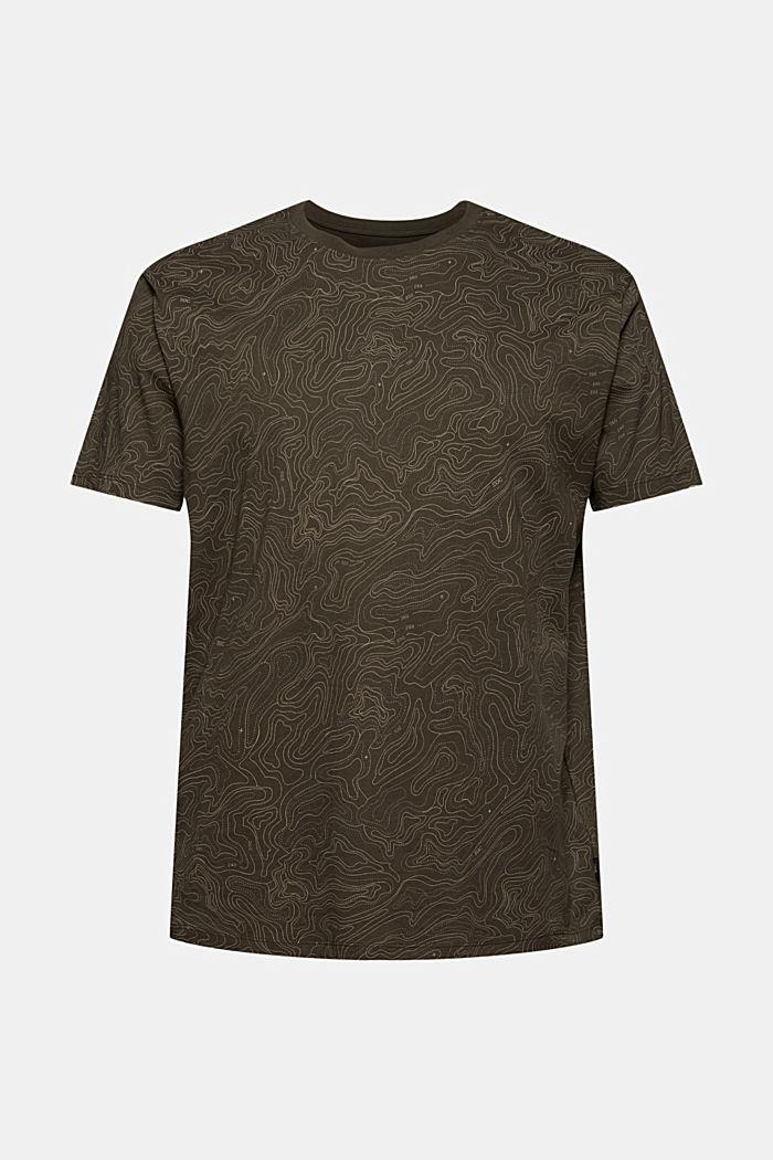 Jersey T-shirt met print, biologisch katoen, DARK KHAKI, detail image number 5