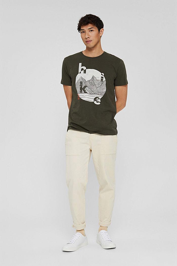 Jersey T-shirt with a print, organic cotton, DARK KHAKI, detail image number 5