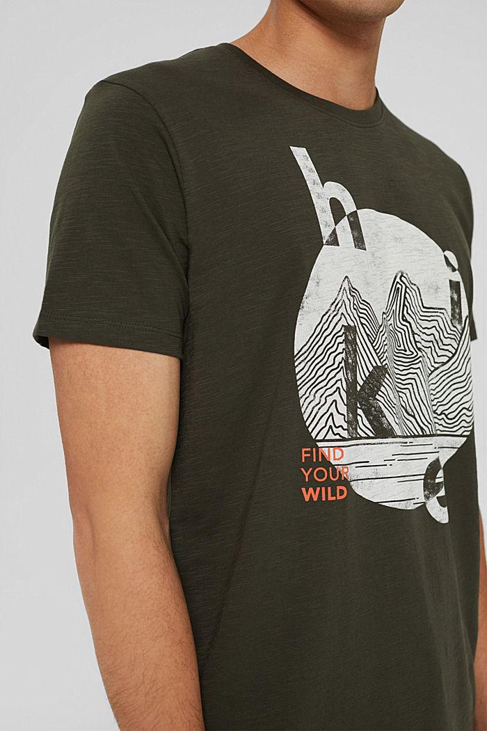 Jersey T-shirt with a print, organic cotton, DARK KHAKI, detail image number 1