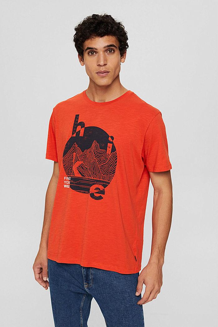 Jersey T-shirt met print, biologisch katoen, ORANGE, detail image number 0