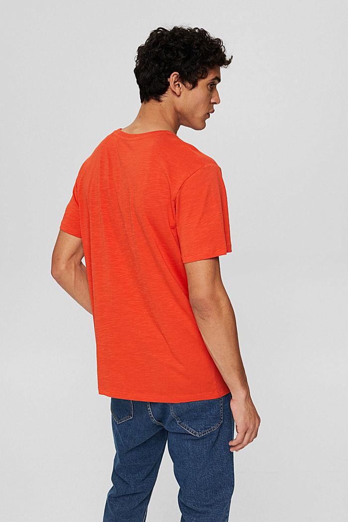 Jersey T-shirt met print, biologisch katoen, ORANGE, detail image number 3