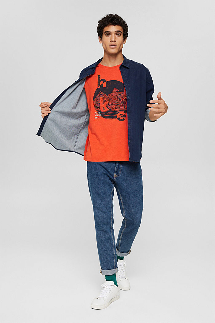 T-shirt z dżerseju z nadrukiem, bawełna organiczna