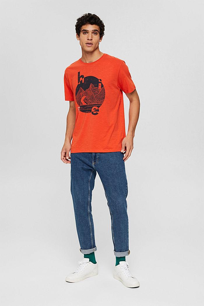Jersey T-shirt met print, biologisch katoen, ORANGE, detail image number 5